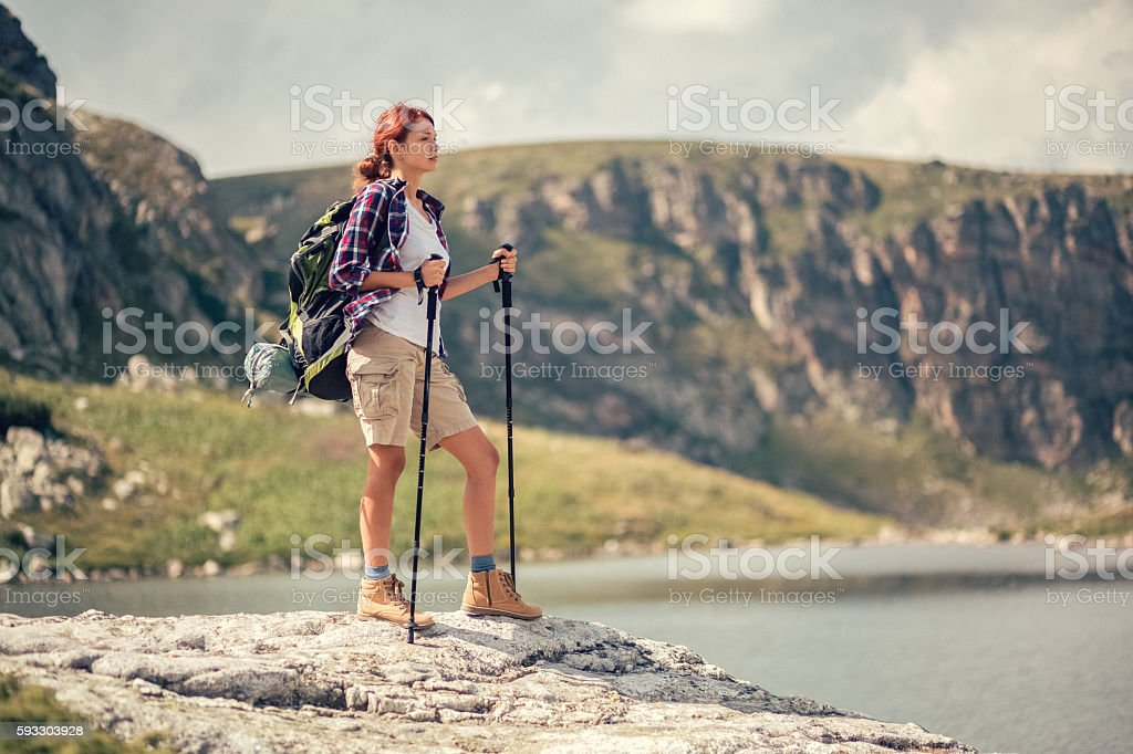Tourist enjoying the view stock photo