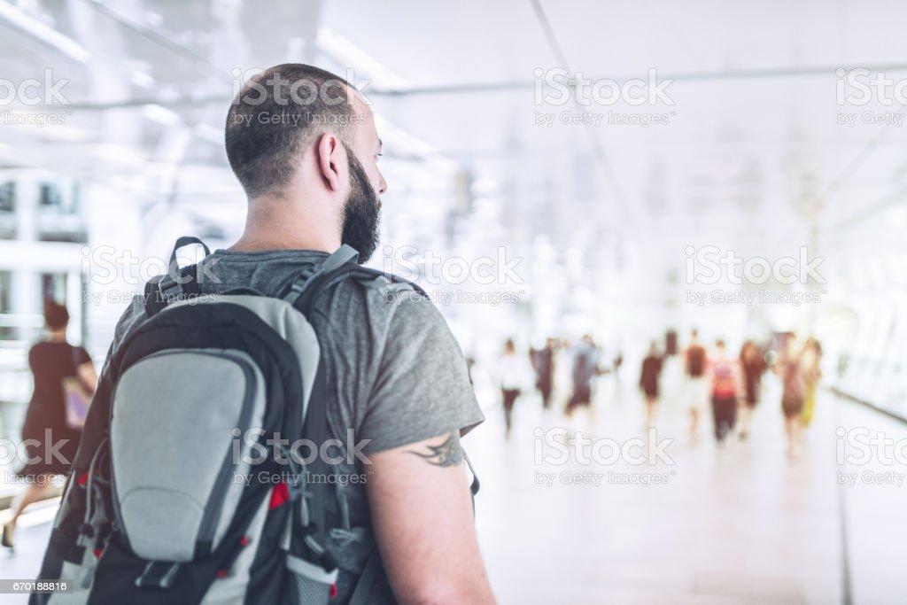 A tourist exploring streets of Bangkok stock photo
