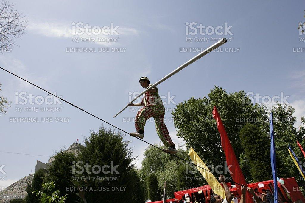 Tourist festival in the city of Osh. stock photo