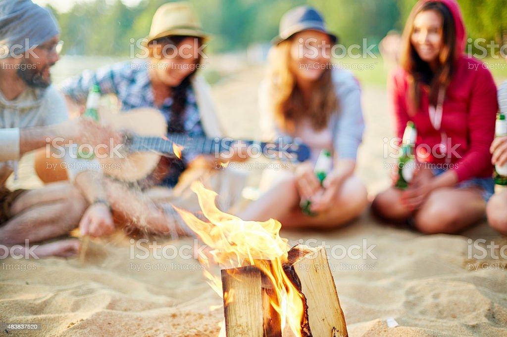 Tourist fire stock photo