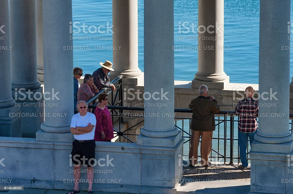 Tourist gatther to look at  Plymouth Rock stock photo