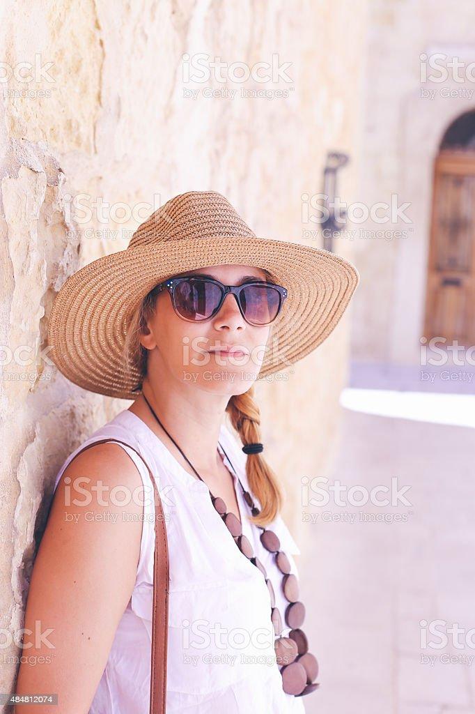 Tourist girl posing for photo stock photo