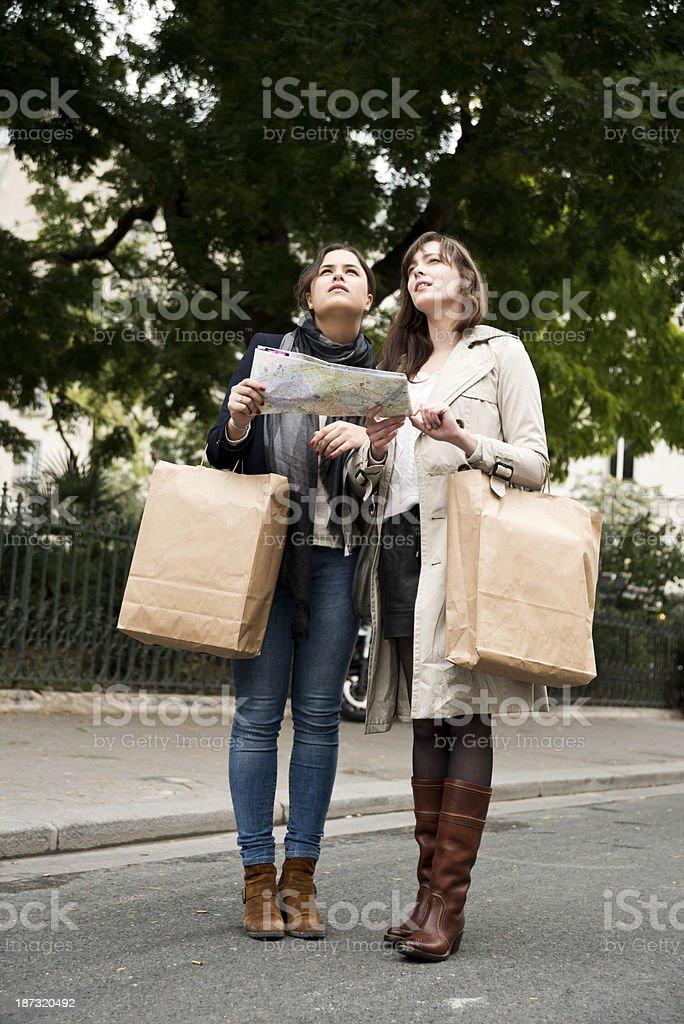 tourist girls on paris streets royalty-free stock photo
