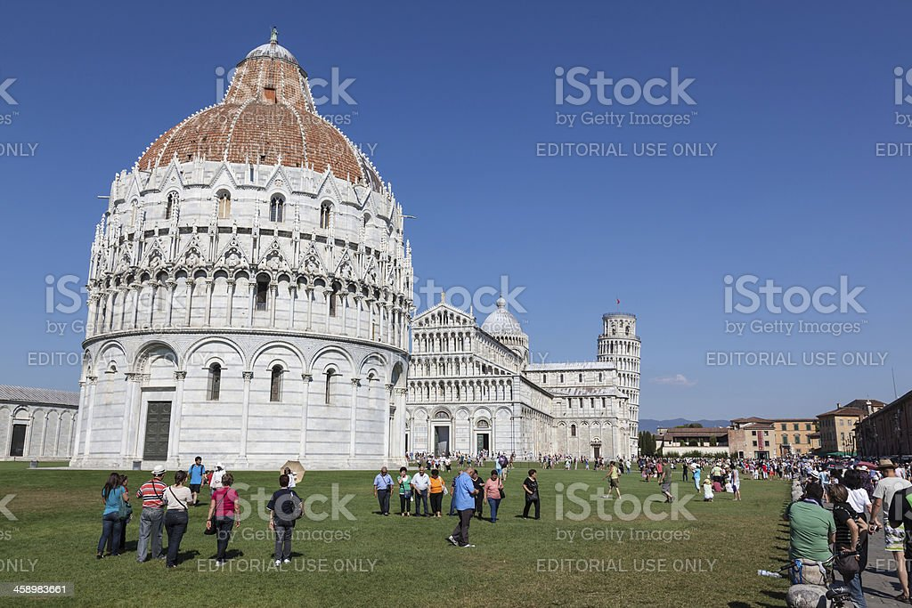 Tourist Group at Leaning Tower of Pisa, Italy stock photo