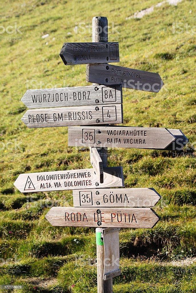 Guide touristique de peitlerkofel-Dolomites, Italie photo libre de droits