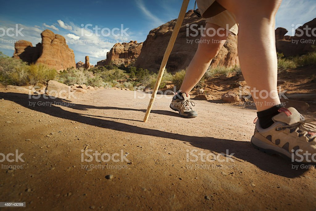 Tourist Hiker on the Hiking Trail of Southwest USA stock photo