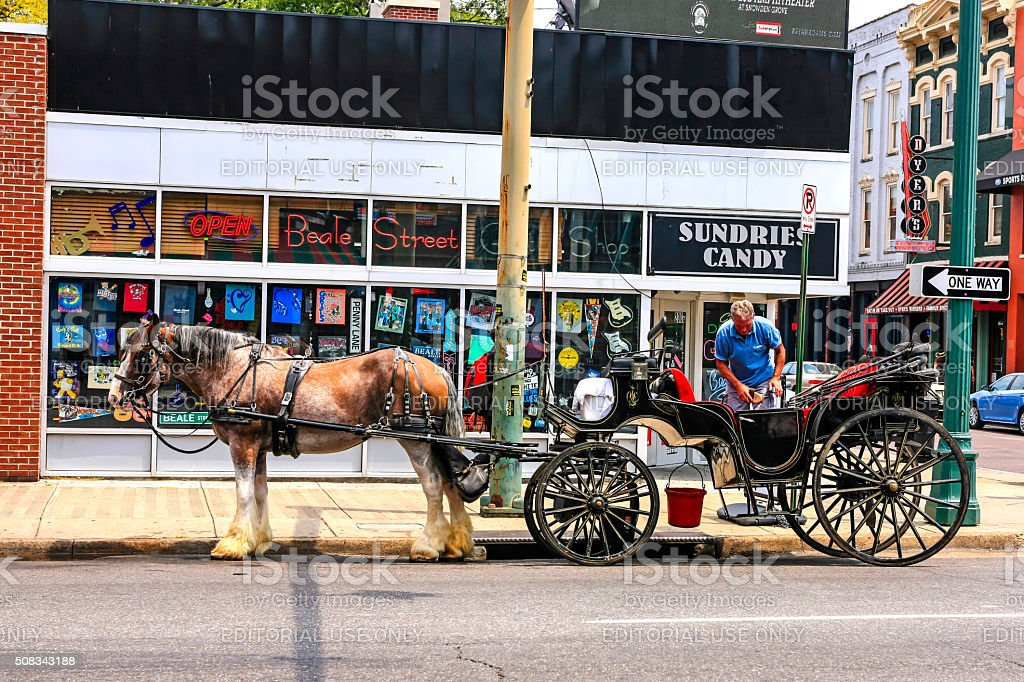 Tourist Horse and Carriage on Beale Street in Memphis stock photo