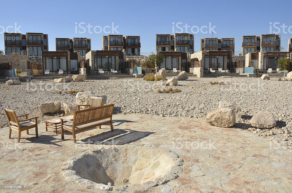 Tourist hotel in Negev desert, Israel. stock photo