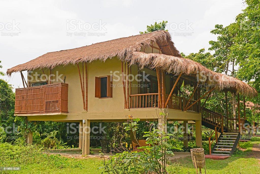 Tourist hut in the jungle stock photo