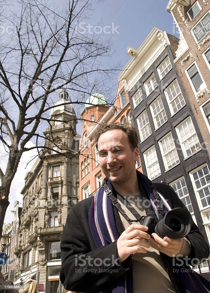 Tourist in Amsterdam royalty-free stock photo