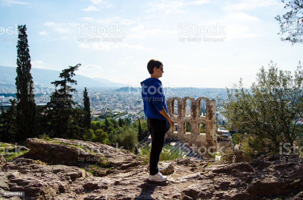Tourist in Athens stock photo