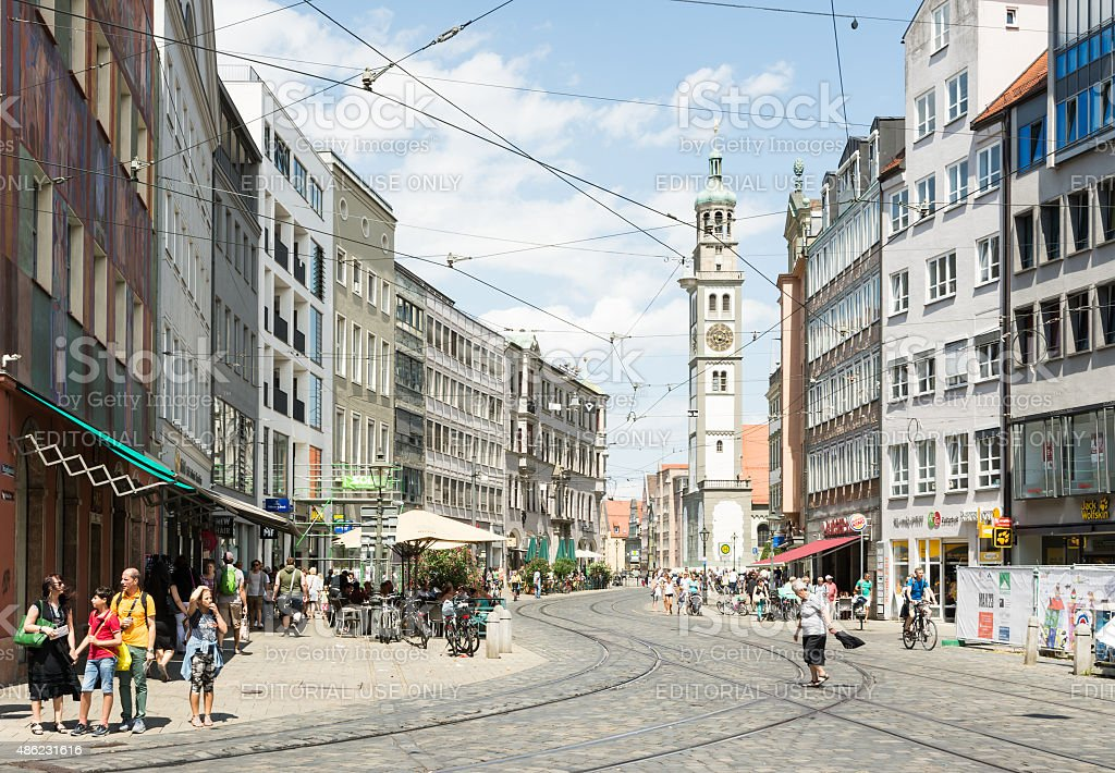 Tourist in Augsburg city stock photo