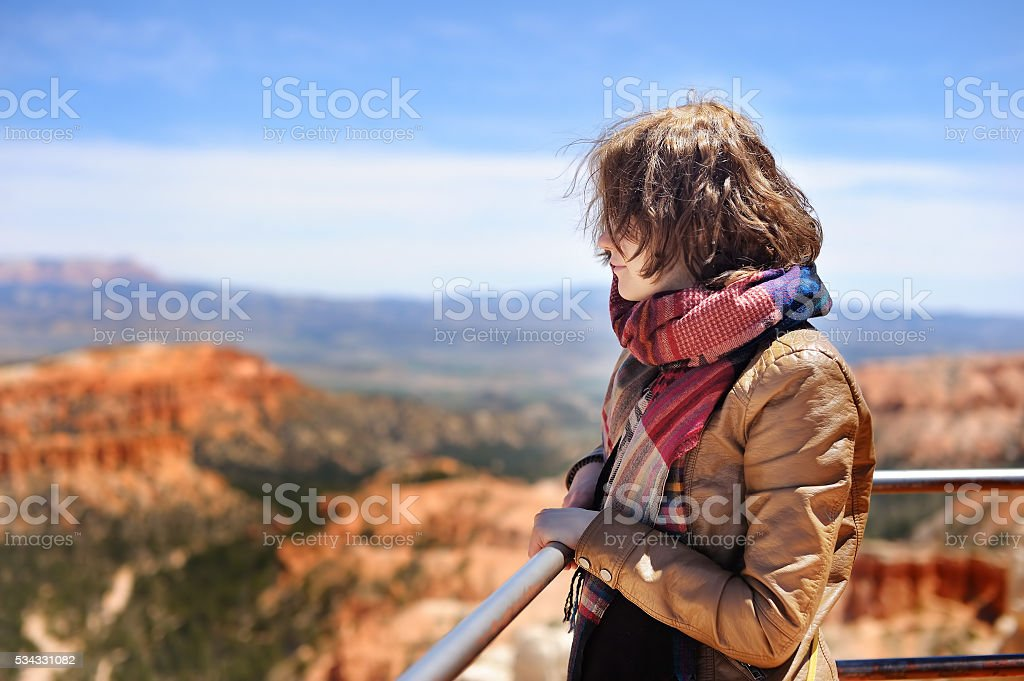 Tourist in Bryce Canyon National Park, USA stock photo