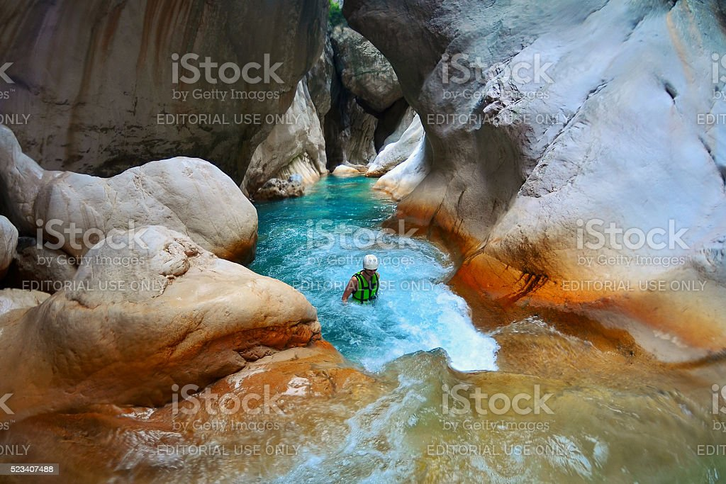 Tourist  in deep Saklikent canyon in southern Turkey stock photo