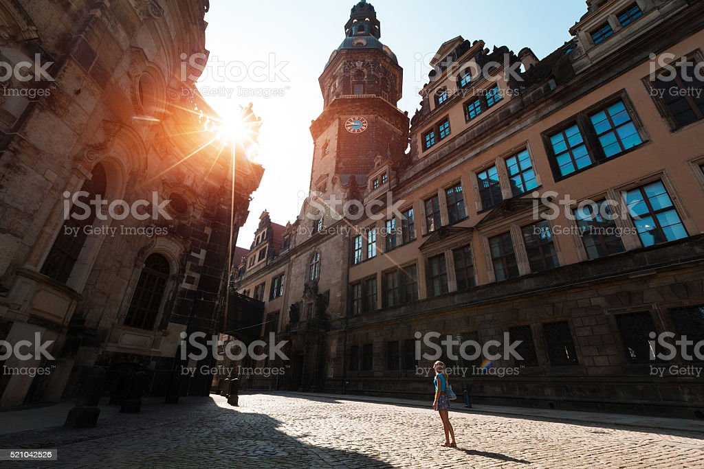 Tourist in Dresden stock photo