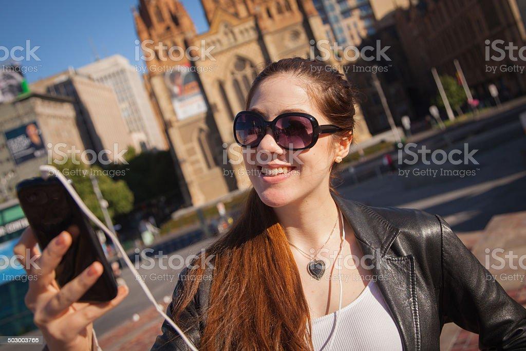 Tourist in Federation Square stock photo