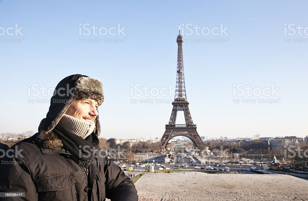 tourist in front of Eiffel tower Paris -France royalty-free stock photo