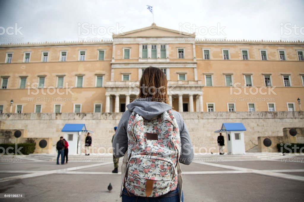Tourist in front of Greek Parliament stock photo