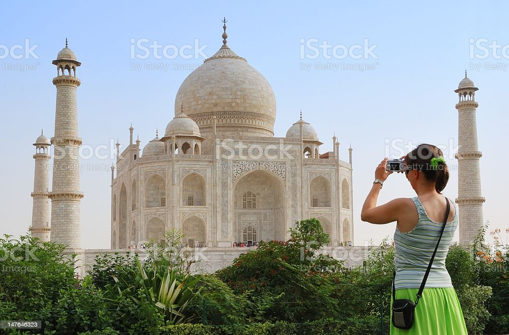 Tourist in front of Taj Mahal royalty-free stock photo