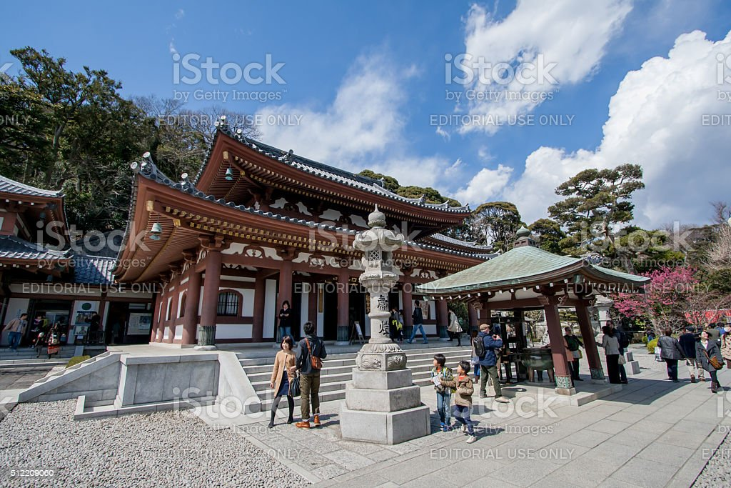 tourist in Hasedera temple in Kamakura stock photo