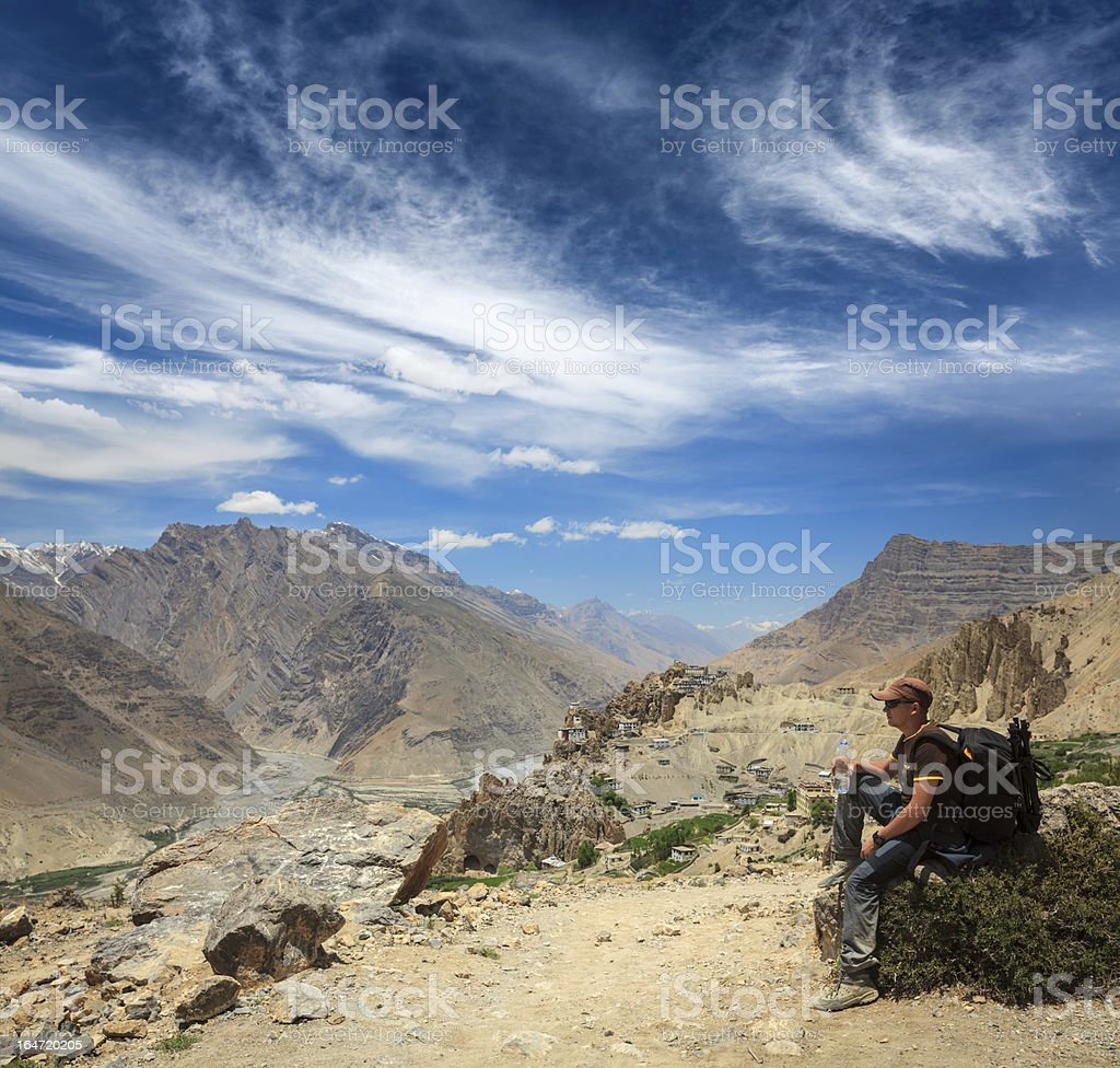 Tourist in Himalayas stock photo