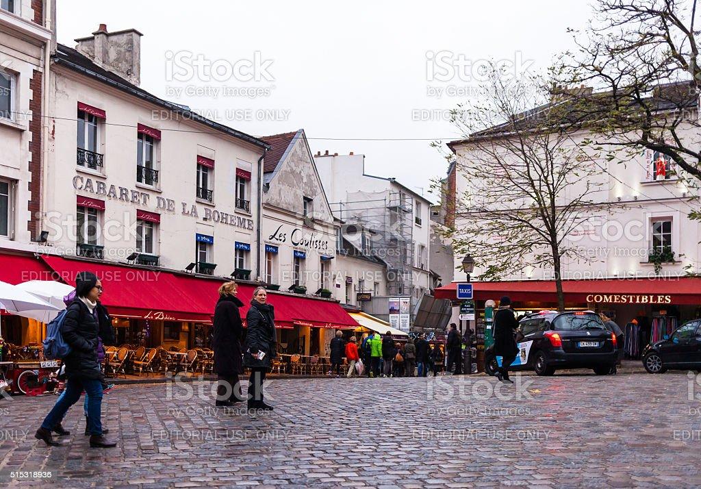 Tourist in Montmartre Paris France stock photo