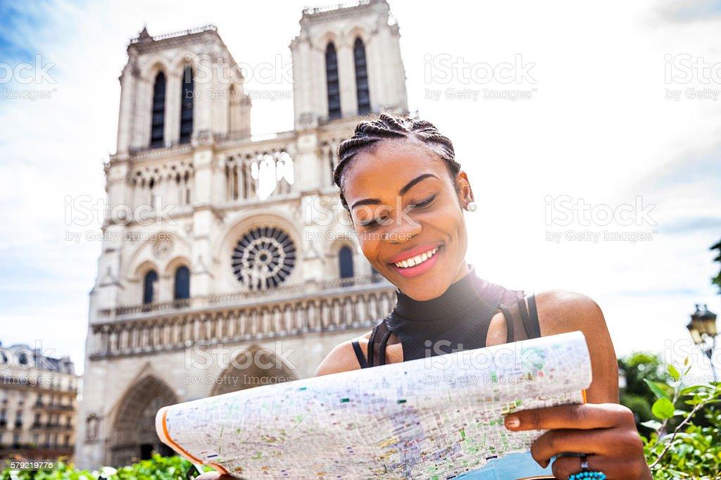 Tourist in Paris, in Notre Dame stock photo