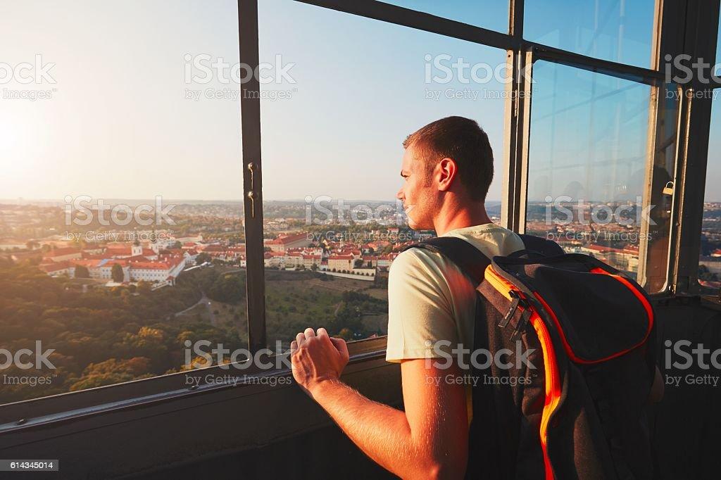 Tourist in Prague stock photo