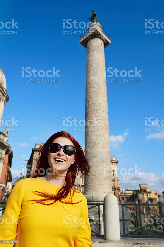tourist in Rome smiling stock photo