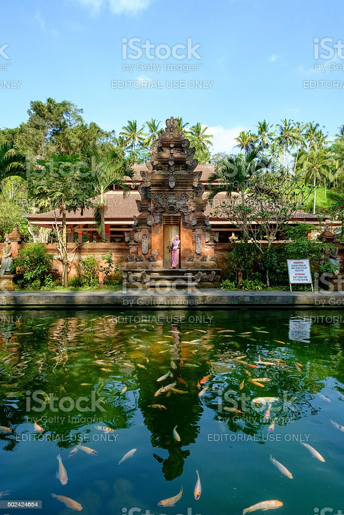 Tourist in small temple in district Ubud. stock photo