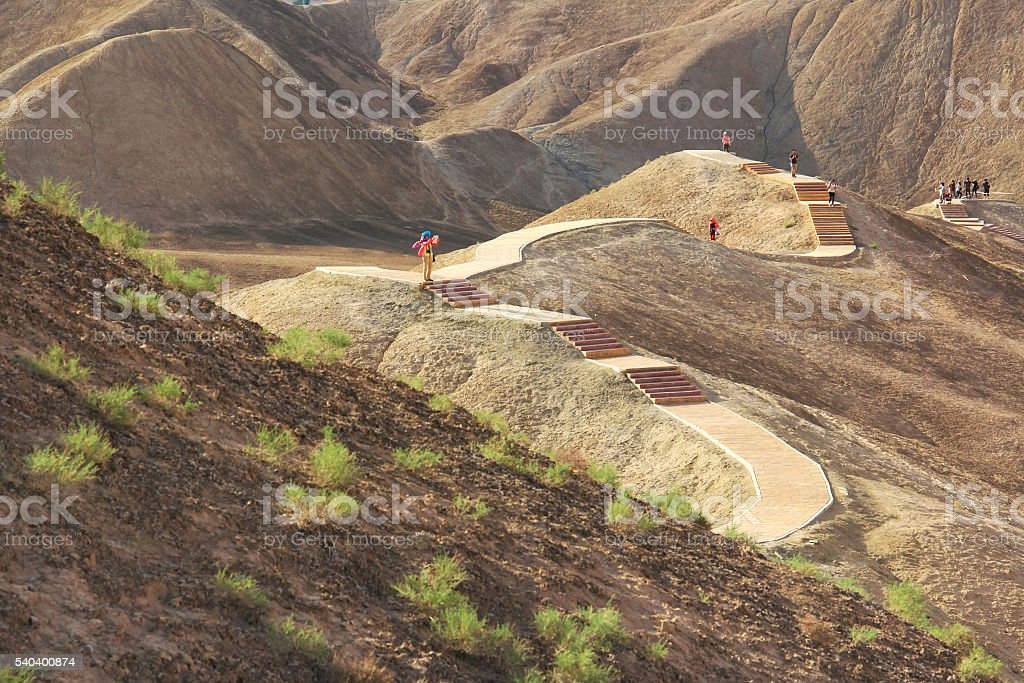 tourist in the Danxia Landform of Zhangye,Gansu,China stock photo