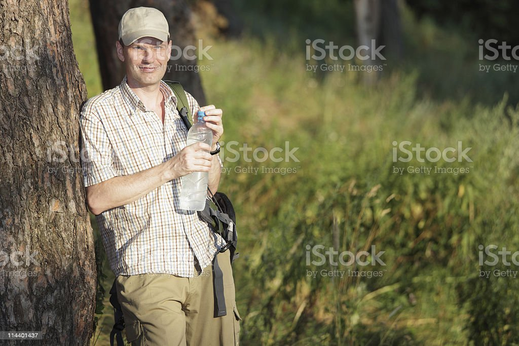 Tourist in the forest stock photo