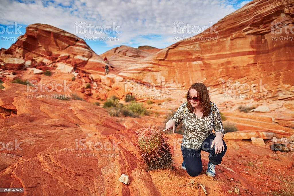Tourist in the Valley of the Fire national park stock photo