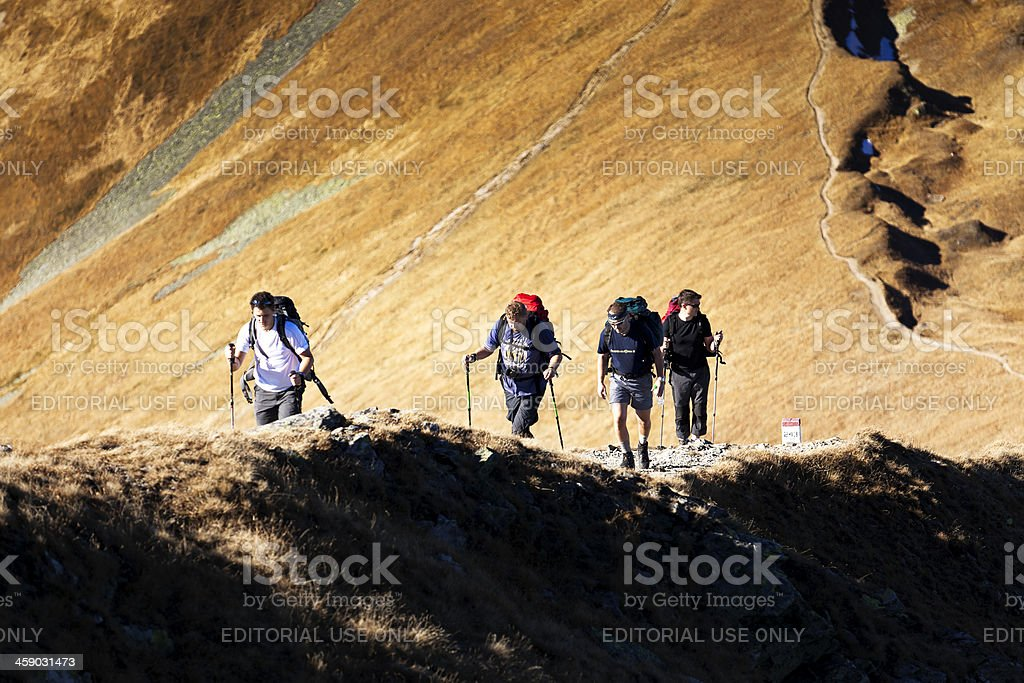 Tourist in Western Tatra Mountains royalty-free stock photo
