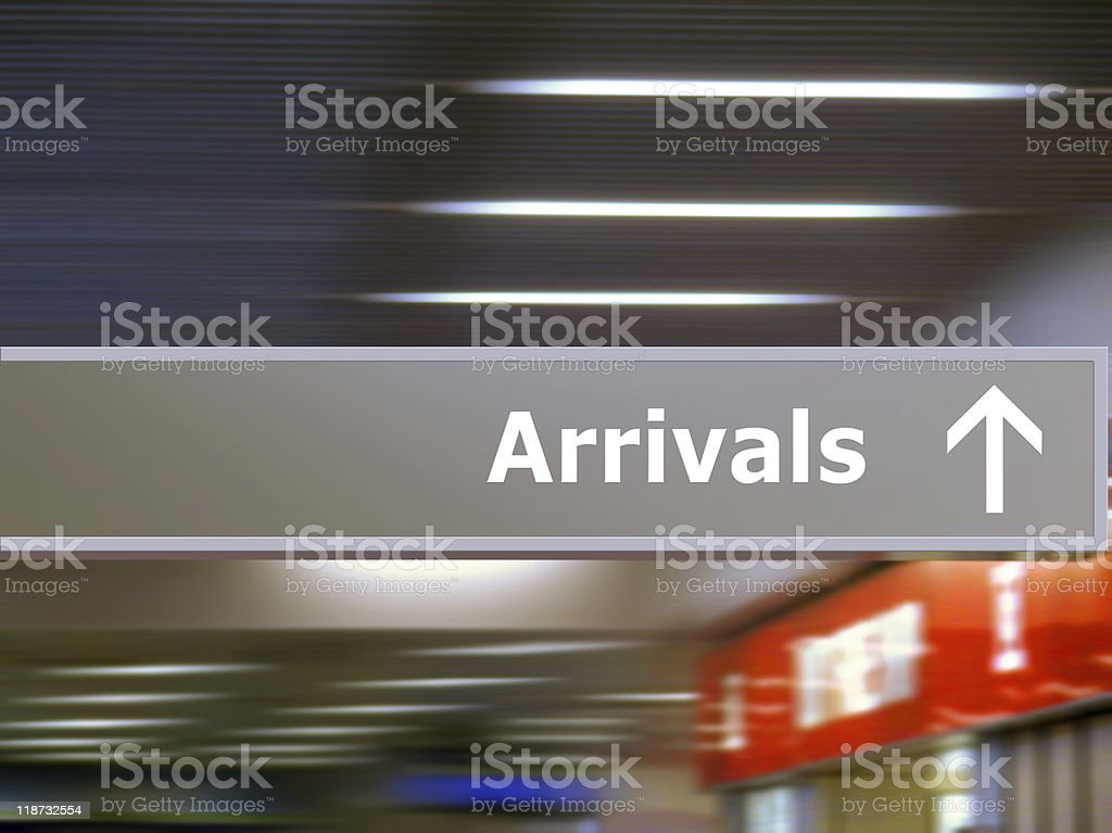 Tourist info signage arrivals royalty-free stock photo