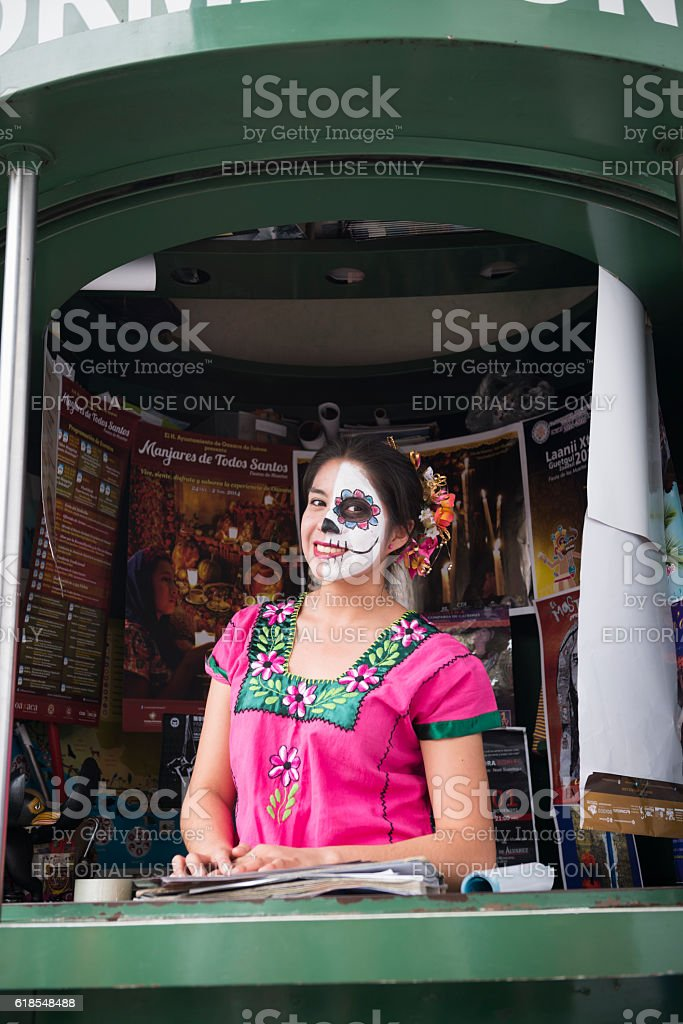 Tourist information booth in Oaxaca, Mexico stock photo