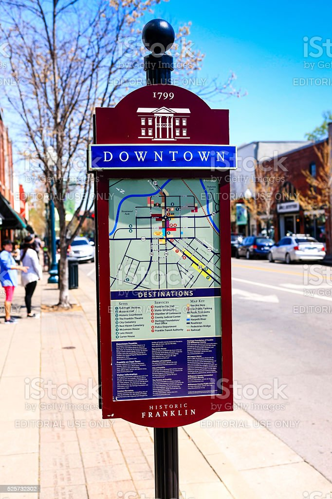 Tourist information map on the sidewalk in downtown Franklin, Tennessee. stock photo
