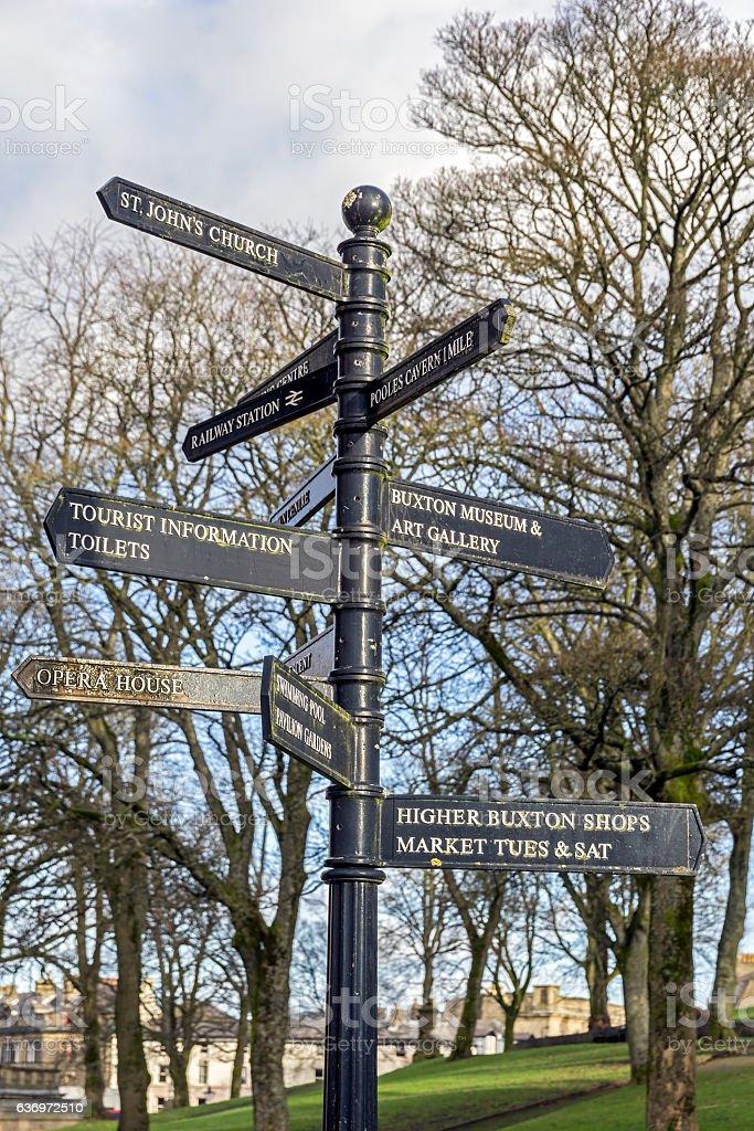 Tourist Information Sign, Buxton, Derbyshire stock photo