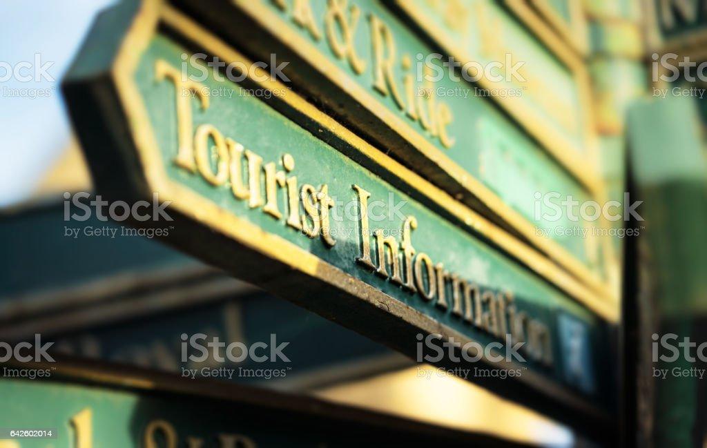 Tourist Information sign close-up stock photo