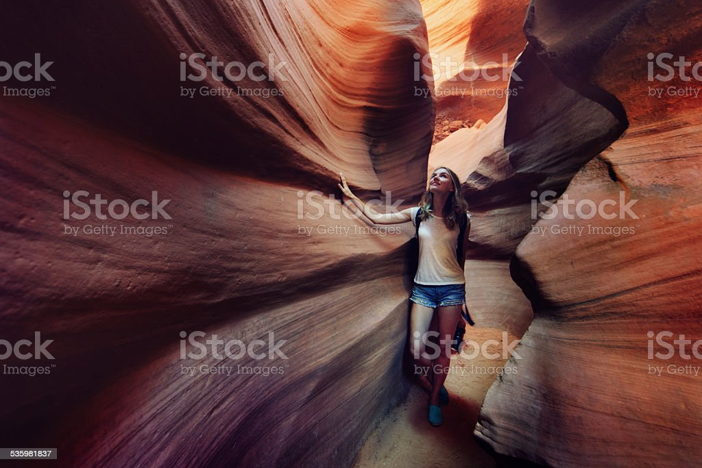Tourist inside Antelope Canyon stock photo
