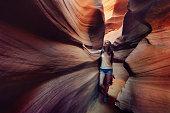 Tourist inside Antelope Canyon