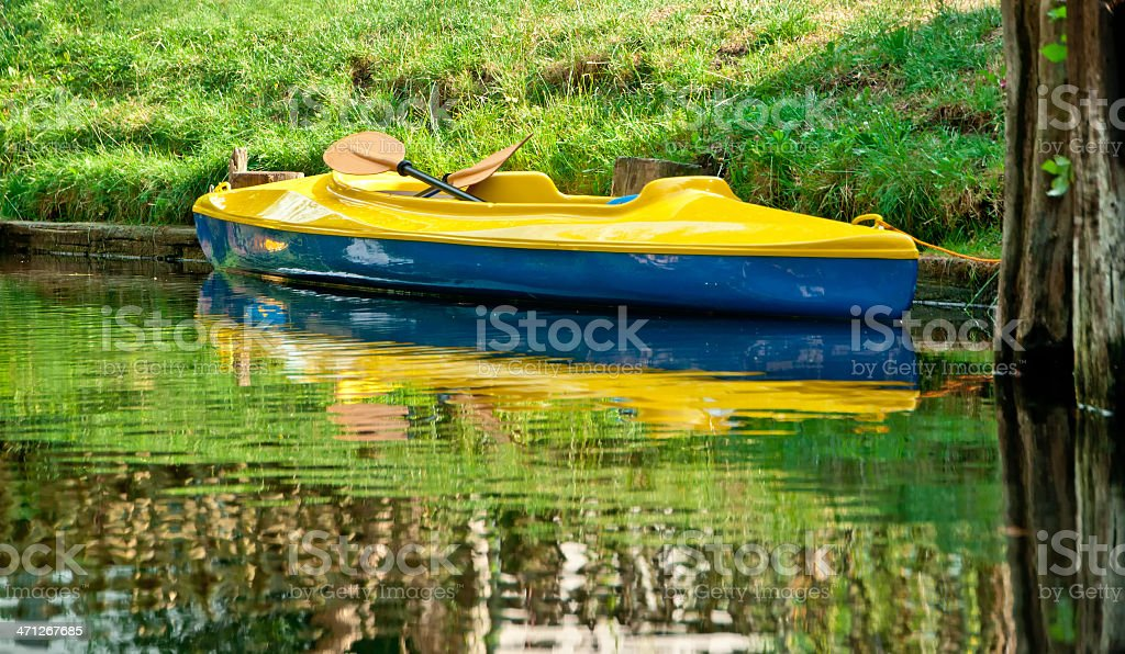 tourist kayak on clear river in Spreewald/ Germany stock photo