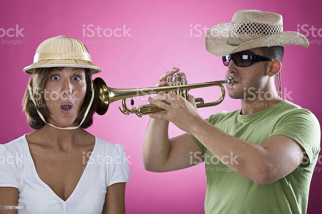 tourist listen to trumpet song stock photo