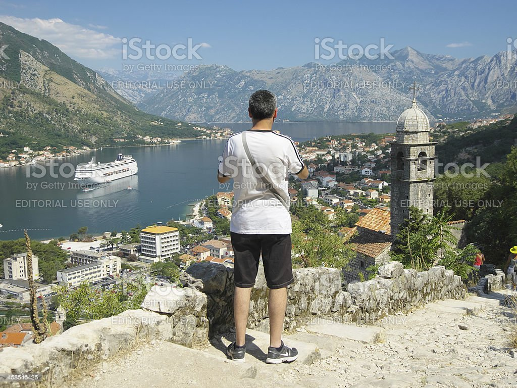 Tourist Looking At Kotor Bay, Montenegro royalty-free stock photo