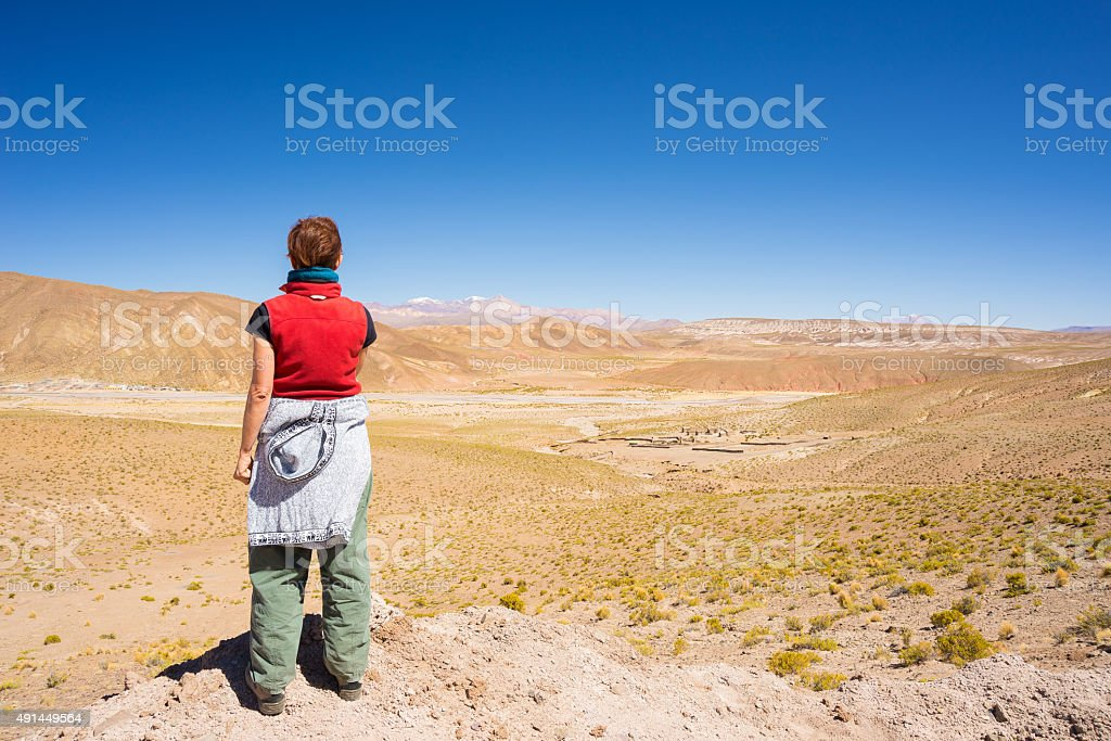 Tourist looking at view on the Bolivian Andes stock photo
