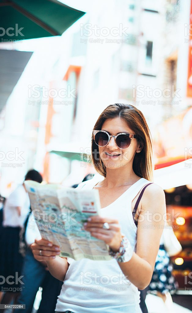 Tourist looking for landmarks in city of Kobe, Japan stock photo