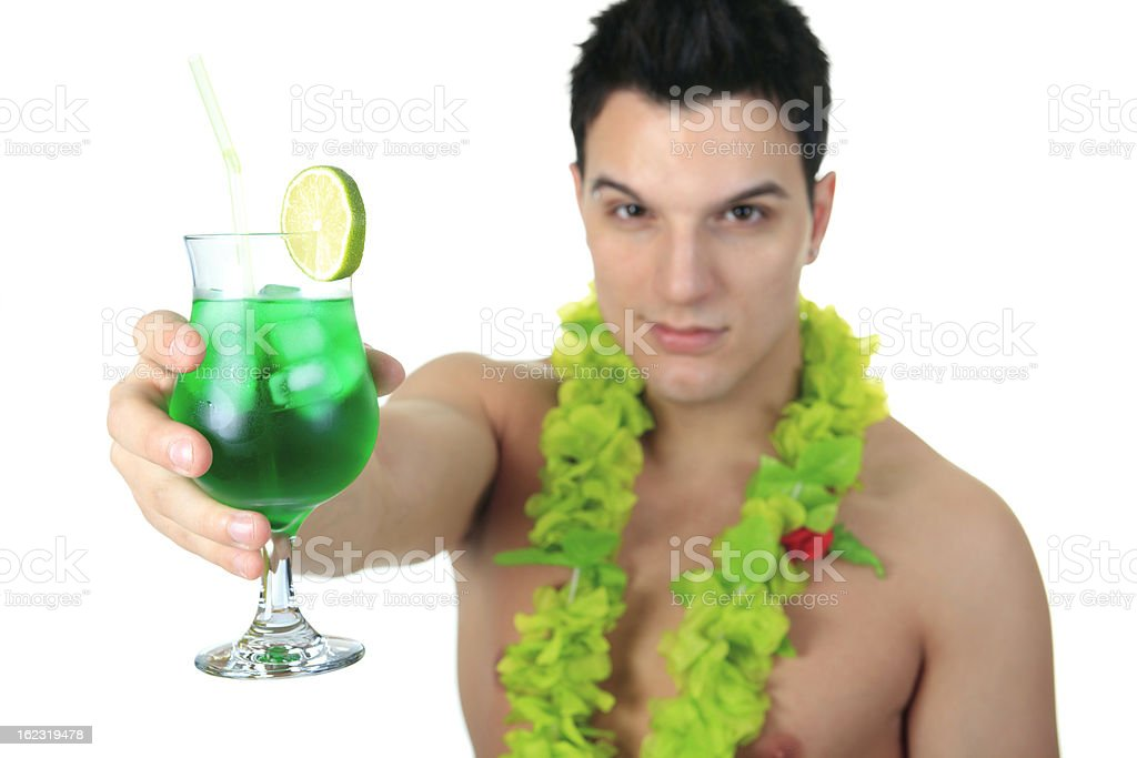 Tourist Man with Cocktail royalty-free stock photo