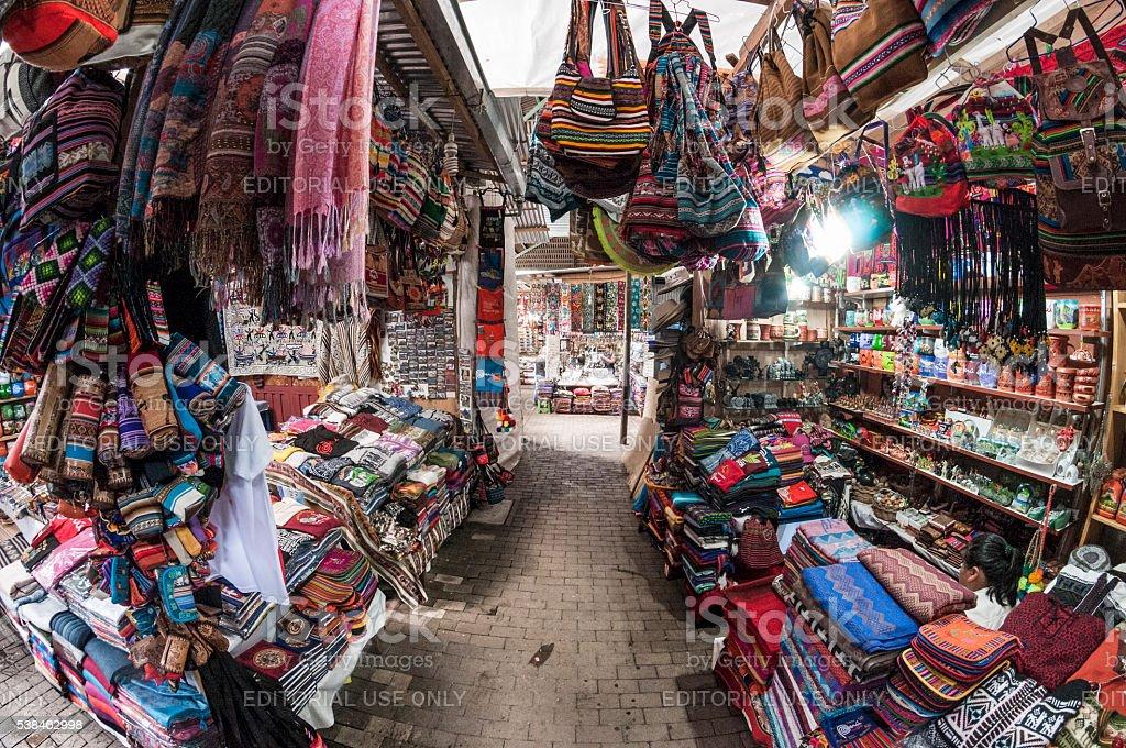Tourist Market In Aguas Calientes, Peru stock photo
