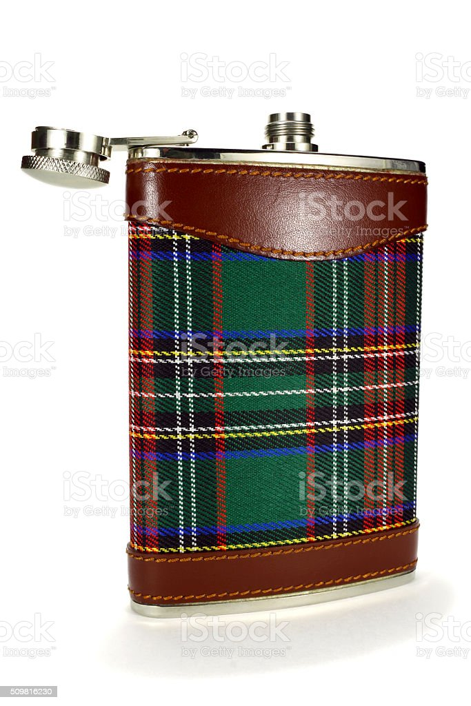 Tourist metal flask for drinks on a white background stock photo