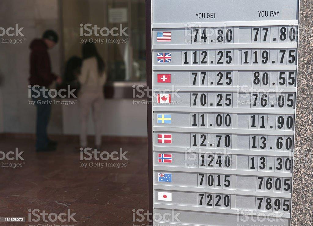 Tourist Money exchange in Amsterdam royalty-free stock photo
